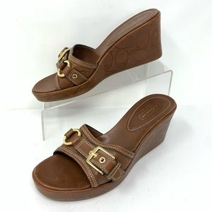 Coach Brown Leather Wedge Sandals